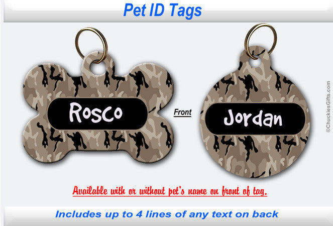 Pet ID Identification Tag- Personalized Camouflage Tan