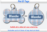 Pet ID Identification Tag- Personalized - Plaid (Blue/Orange)