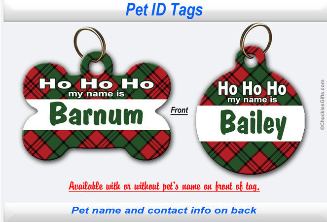 Pet ID Identification Tag- Personalized Christmas Plaid