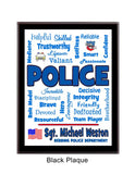 Police Plaque Expressions - Personalized - Dark Blue & Light Blue