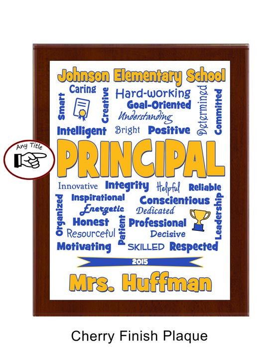 Principal Plaque Expressions - Personalized Blue & Gold