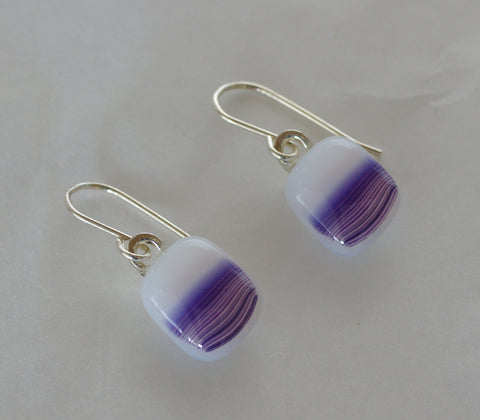 Purple, pink and White Fused Glass Earrings