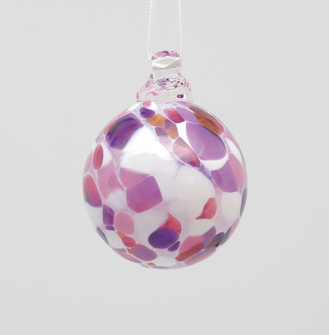 Mini white Ornament with pink and purple spots 1