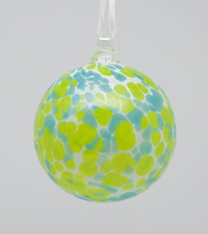 Large White Ornament with Lime green and Light blue spots