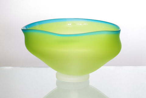 Lime Green and Turquoise Wavy Bowl