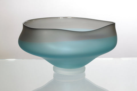 Turquoise and Grey Etched Wavy Bowl