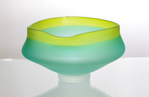 Turquoise and Lime Green Wavy Bowl