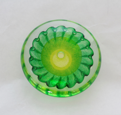 Two tone flat paperweight- Lime and Emerald