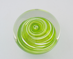 Small Lime Green and White Swirl Paperweight