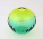 Round Vase Lime Green and Turquoise