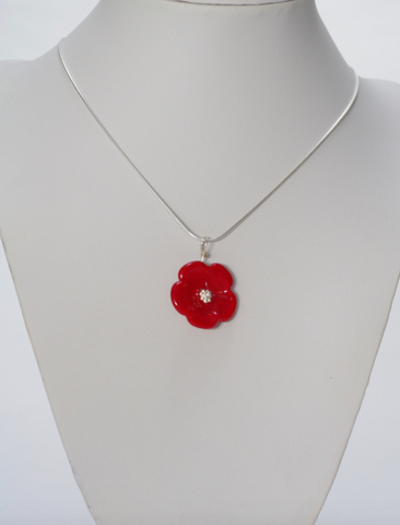 Opaque Red Flower Pendant