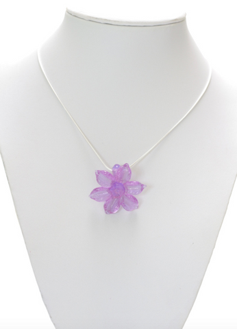 Pink Glass Flower Pendant