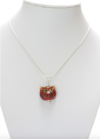 Amber Glass Cat Necklace