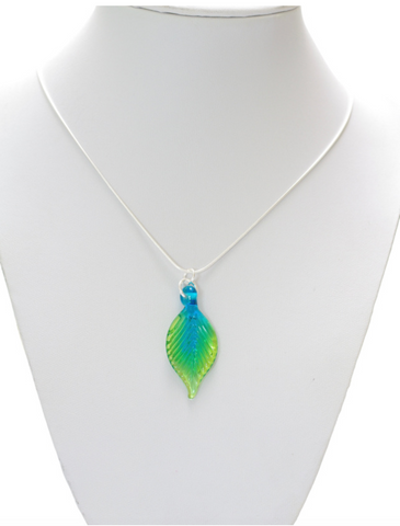 Glass Leaf Pendant Small Turquoise and Lime