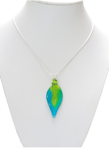 Glass Leaf Pendant Large Lime/Turquoise