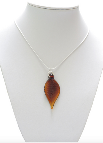 Glass Leaf Pendant Large Amber Two tone