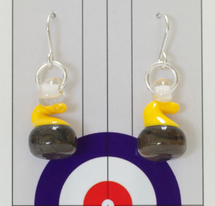 Glass Curling Stone Earrings Yellow Handle