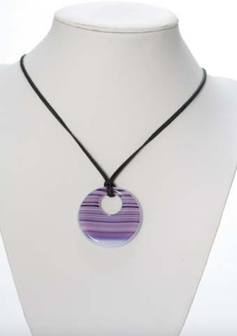 Round Striped Pendant-Purple and Pink