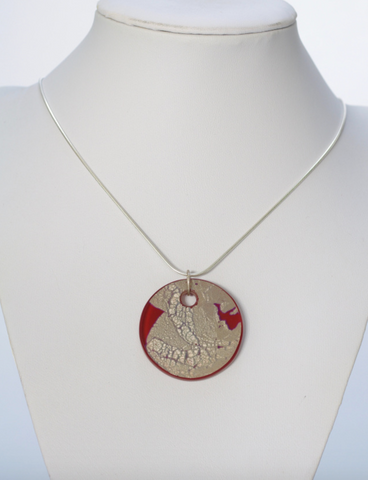 Red Silver Leaf Glass Pendant with Engraved design