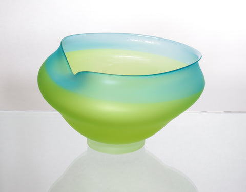 Large Turquoise and Lime Green Wavy Bowl