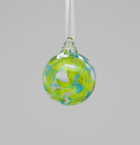Mini Turquoise, Lime green and White Ornament 1