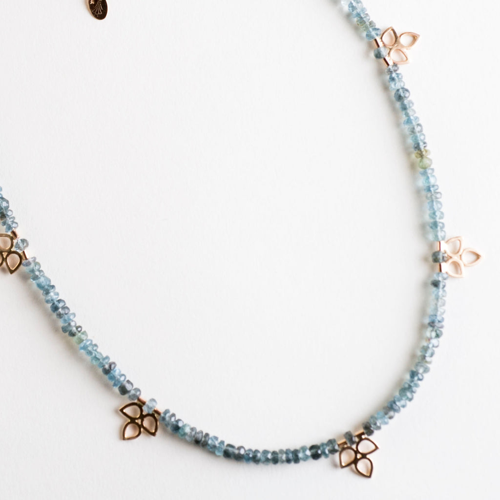 Starlets Moss Aquamarine & Petal Cluster Necklace, 14k Gold or Silver - Made-to-Order