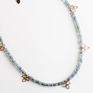 Starlets Moss Aquamarine & Petal Cluster Necklace, 14k Gold or Silver