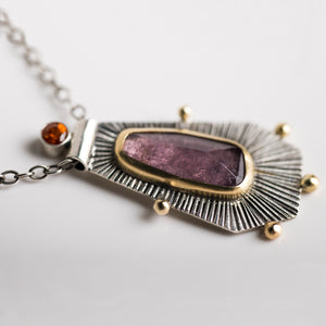 Romana Purple Tourmaline Necklace w/ 18k Gold & Silver