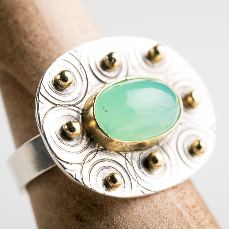 Galway Chrysoprase Ring w/ 18k Gold & Sterling Silver