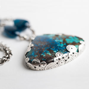 Adelaide Shattuckite & Apatite Sterling Silver Necklace