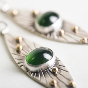 Seville Serpentine Marquise Earrings in Silver & 18k Gold