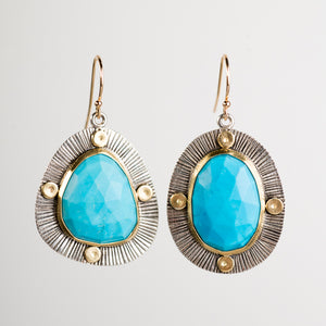 Perth Rose Cut Turquoise in 18k Gold and Silver