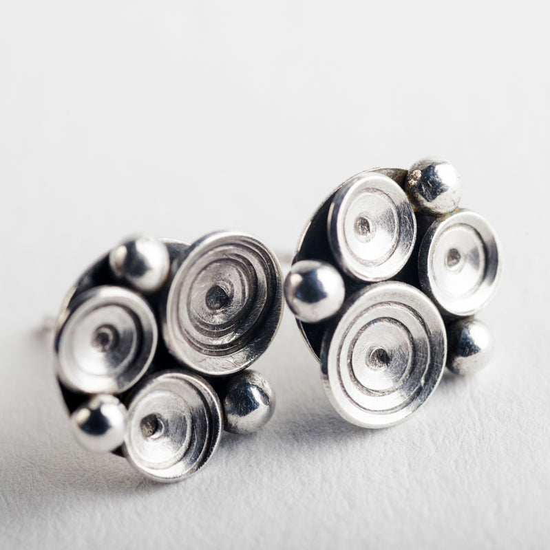 Elizi Seascape Studs in Oxidized Silver