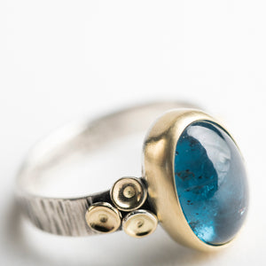 Kenai Teal Kyanite Ring in 18k Gold & Silver - Made to Order