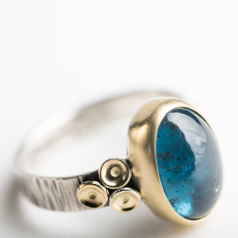 Kenai Teal Kyanite Ring in 18k Gold & Silver. Size 7.
