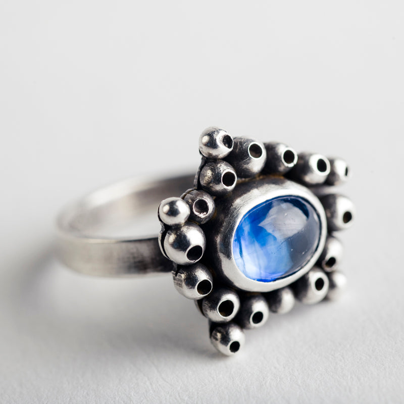 Danu Kyanite Seascape Ring in Oxidized Silver
