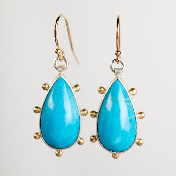 Hailey Turquoise Earrings in Silver w/ Gold Granule Halo