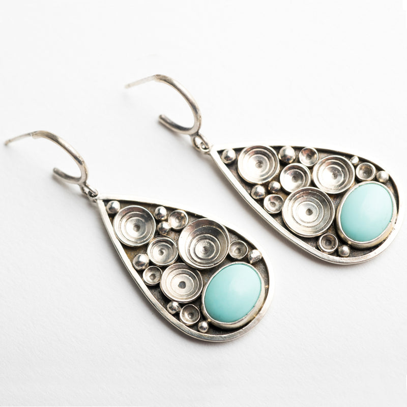 Siren Turquoise & Silver Seascape Earrings