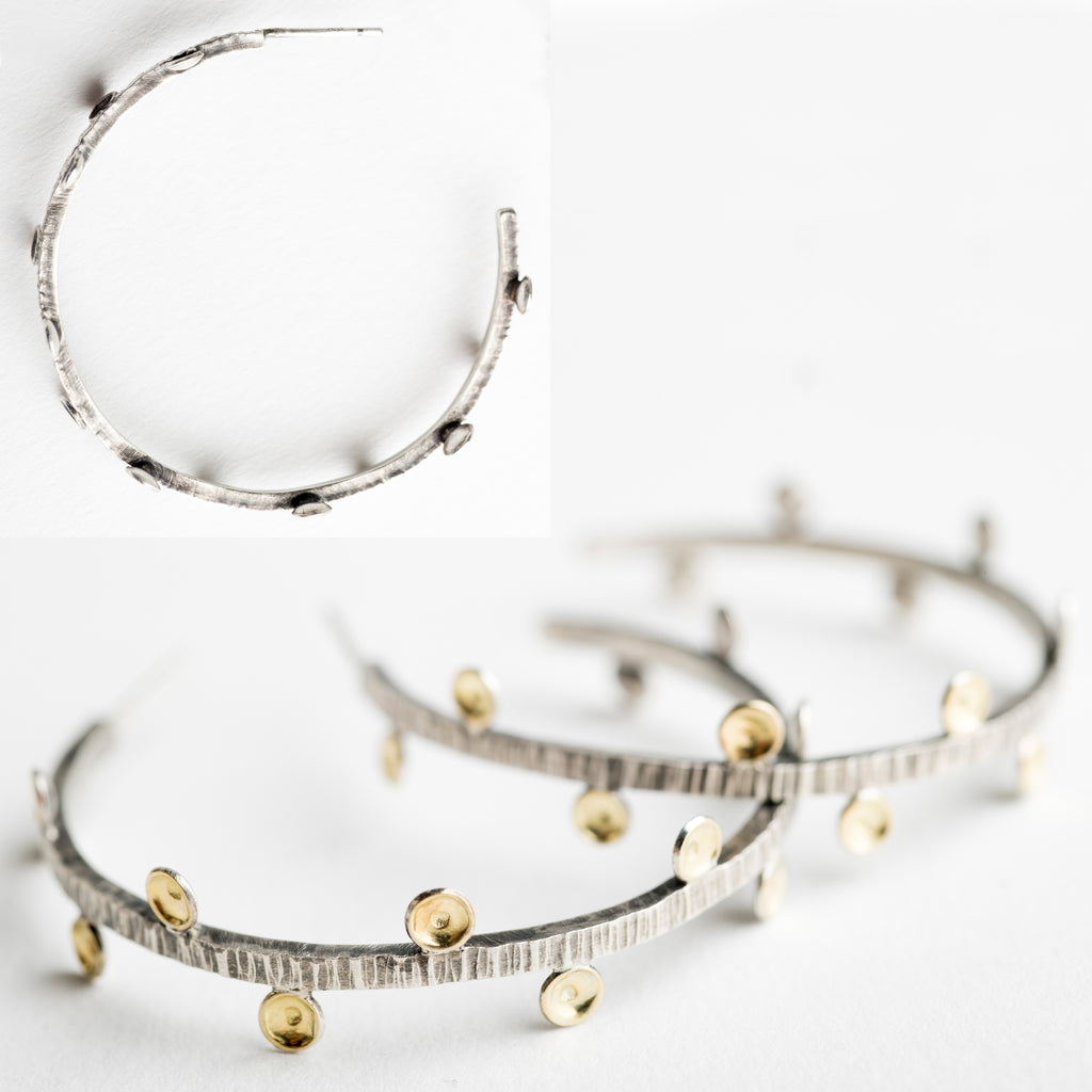 Anuket Medium Spiney Hoop Earrings in Silver w/ 18k Gold
