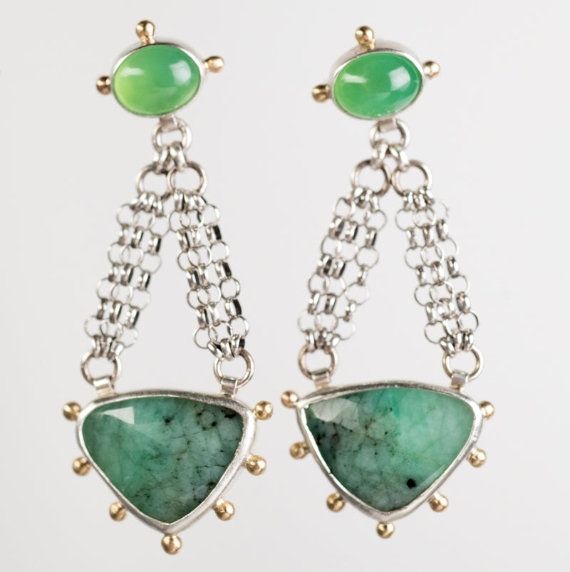 Ceres Emerald & Chrysoprase Chandelier Earrings in Silver & Gold