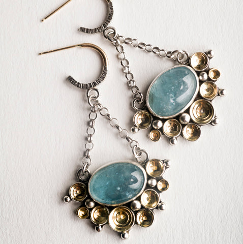 Tiamat Aquamarine Chandelier Earrings in 18k Gold and Silver