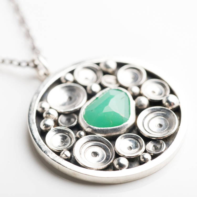 Siren Chrysoprase Seascape Medallion Necklace in Silver