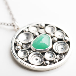 Siren Chrysoprase Seascape Medallion Necklace in Silver - Made to Order