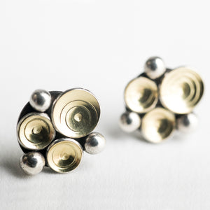 Elizi Seascape Studs in 18k Gold & Silver - Made to Order