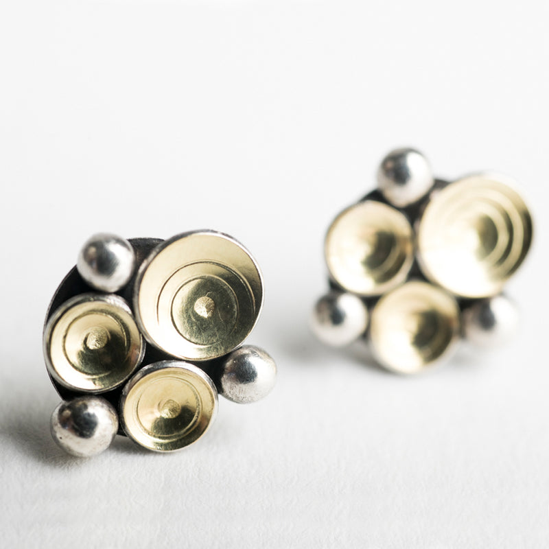 Elizi Seascape Studs in 18k Gold & Silver