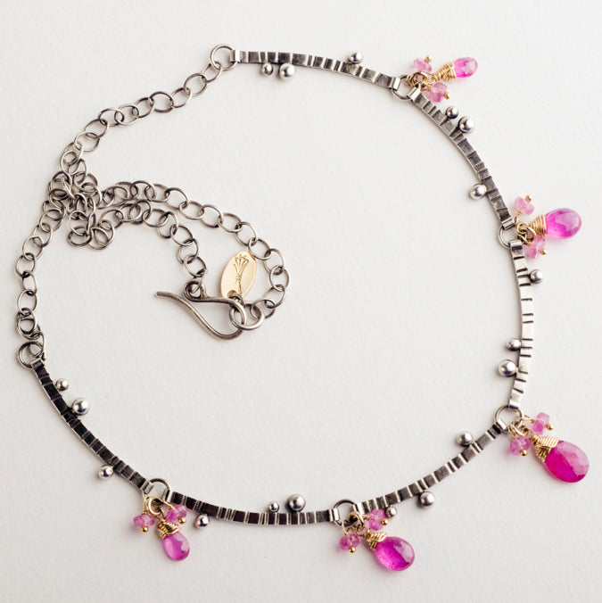 Kiera Pink Sapphire Branch Bib Necklace - Made-to-Order