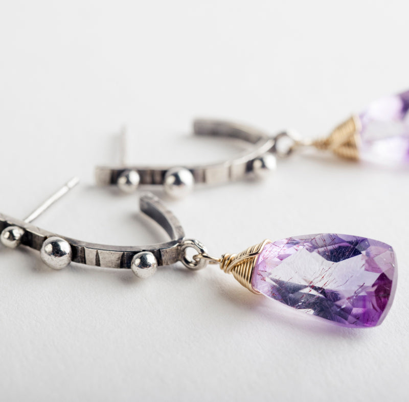 Keira Moss Amethyst Mini Hoop Earrings