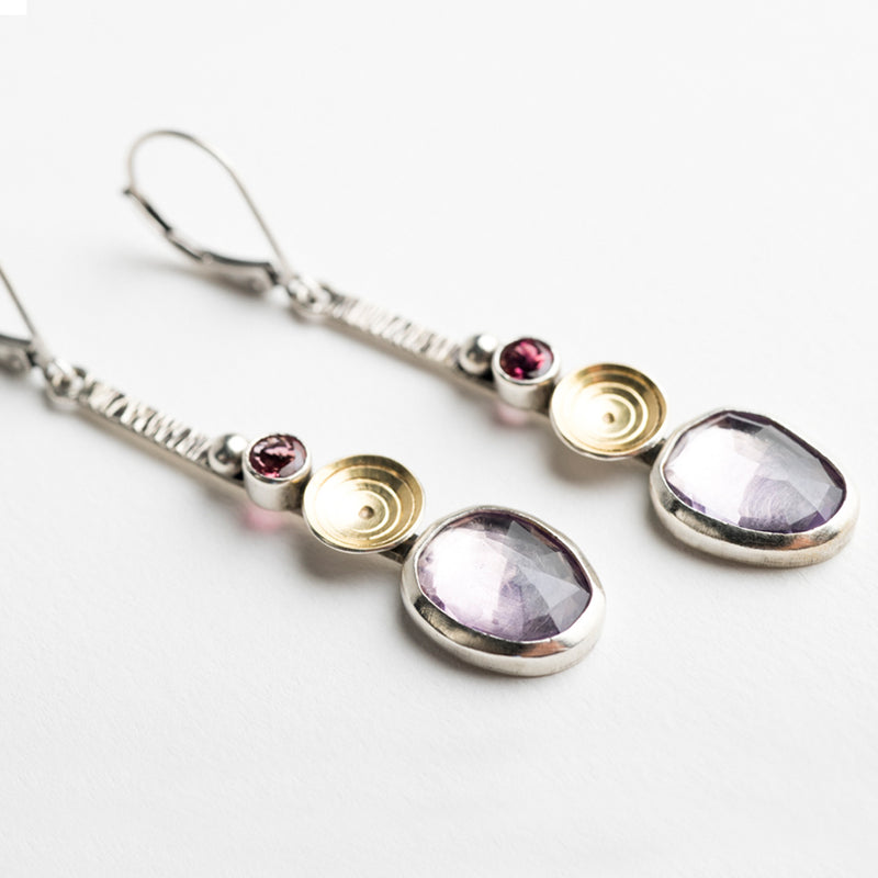 Brizo Long Earrings w/ Amethyst and Rhodolite Garne
