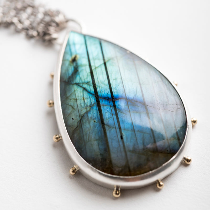 Hailey Labrodorite Pendant in Silver & Gold -One of a Kind