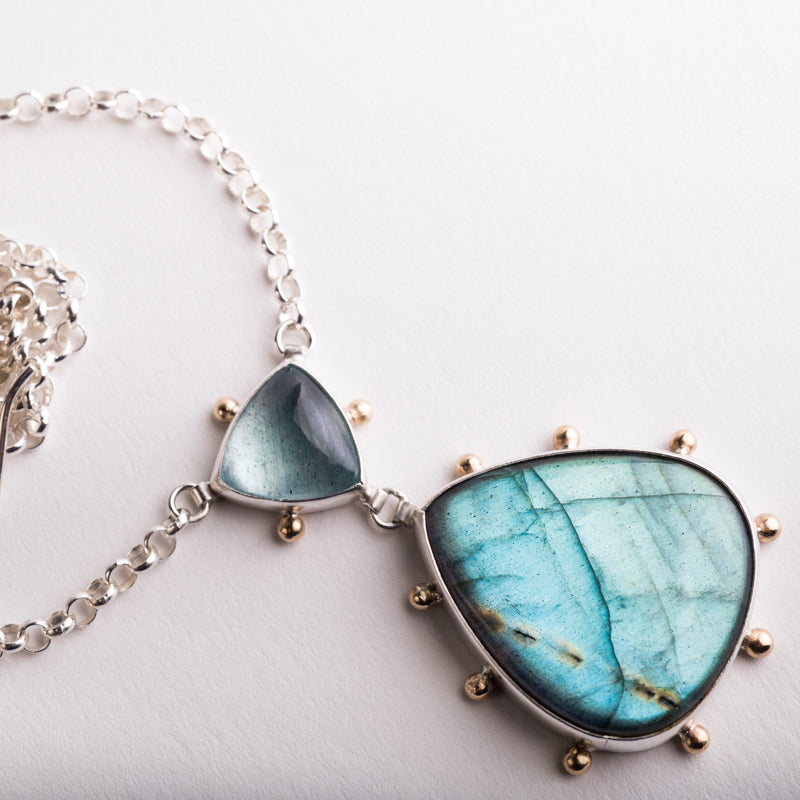 Europa Moss Aquamarine & Labradorite Necklace in 14k Gold and Silver